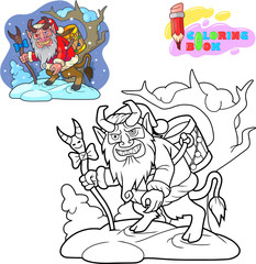 Cartoon krampus is looking for children, coloring book, funny illustration
