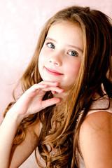 Portrait of adorable smiling little girl child