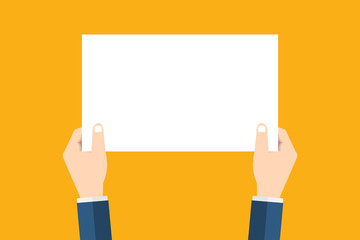Hands holding placard.Vector flat cartoon illustration for web banners,infographic design. Empty protest sign. Propaganda poster. Announcement banner for advertising for business.