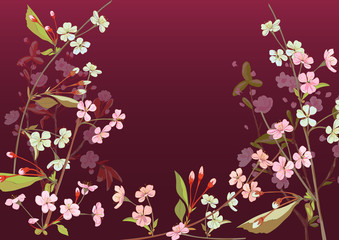 Horizontal border with spring blossom. Pink, bluish flowers: cherry, (sakura, almond, plum). Florets, branches, buds, green leaves on burgundy background. Digital drawing in watercolor style, vector