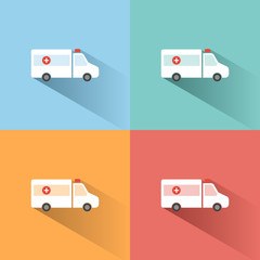 Ambulance color icon with shadow on colored backgrounds