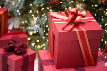 Christmas presents with red ribbon. Christmas gift box.