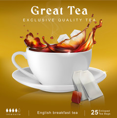 Tea packaging design. Cup with a splash. Vector illustration isolated on background.