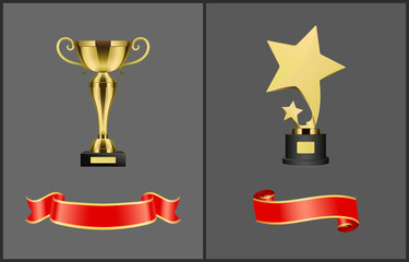 Trophies and Red Banners Set Vector Illustration