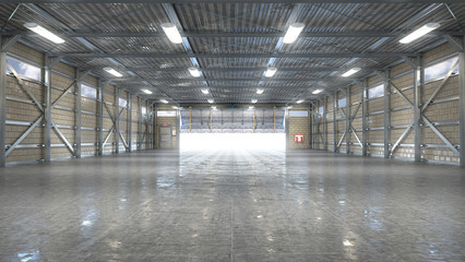 Hangar interior with opened gate. 3d illustration
