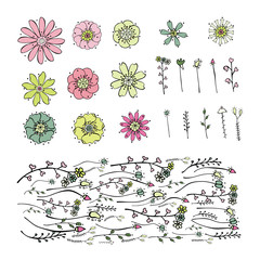 Set of  floral elements for your design isolated on white background. Collection of soft cute drawing pink, green, yellow small flowers and branches in doodle style. Brush of abstract herbs