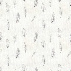 Watercolor feathers seamless pattern. Hand painted texture