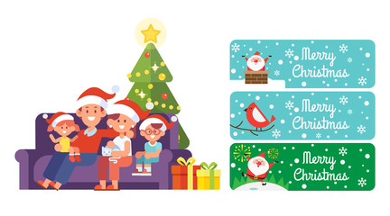 Christmas and happy new year vector set. Happy family together. Mom, dad and kids sitting on the couch at home. Santa Claus banners. Celebrating Christmas.Cartoon style, Flat Vector illustration.