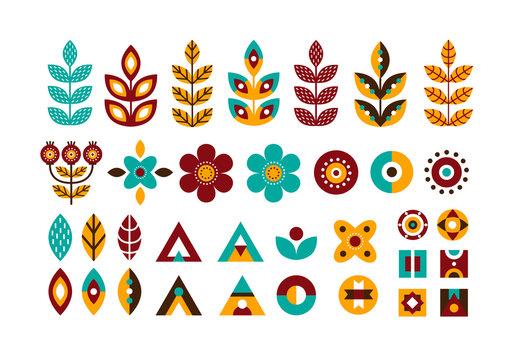 Folk decorative plant geometric set in Scandinavian style