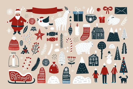 Set of elements for Christmas design