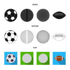 Vector illustration of sport and ball symbol. Set of sport and athletic stock vector illustration.