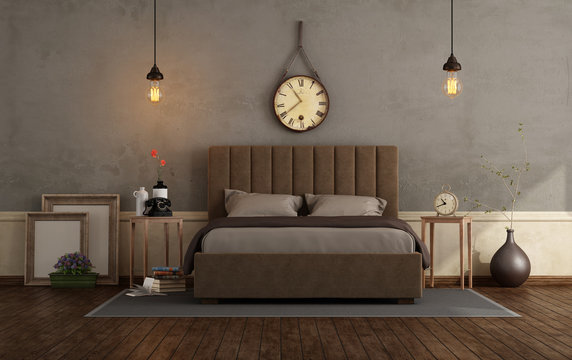 Retro master bedroom with double bed