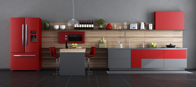 Red and gray contemporary kitchen