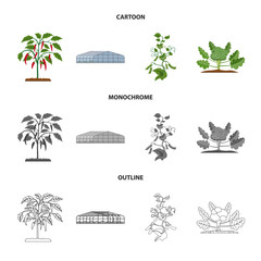Vector design of greenhouse and plant icon. Collection of greenhouse and garden vector icon for stock.