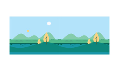 Beautiful nature summer landscape with mountains and river vector Illustration