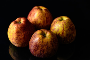apples on isolated black background