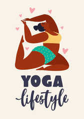 Plus size young women doing fitness, yoga, forward split. Body love lifestyle healthcare illustration Isolated on white background.