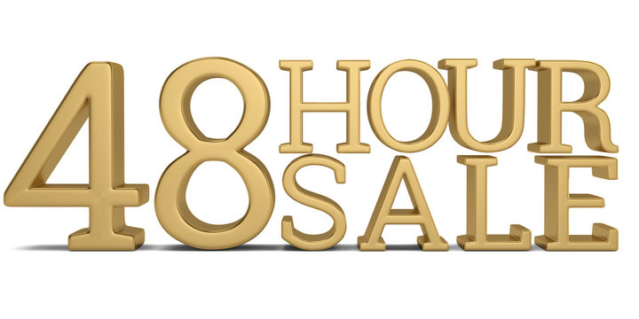 48 hour sale text isolated on white background 3D illustration.