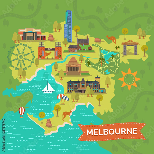 Australia Map Landmarks.Melbourne Australia Map With Landmarks Sightseeing Stock Image And