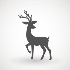 Deer running silhouette , Reinder icon design for Xmas cards, banners and flyers, vector illustration isolated on white background. Logo template. Elk logotype. Hunting.