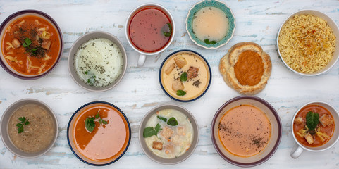 Set of soups from worldwide cuisines
