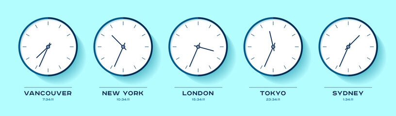 World time. Simple Clock icons in flat style. Vancouver, New York, London, Tokyo, Sydney. Watch on color background. Business illustration for you presentation. Vector design objects.