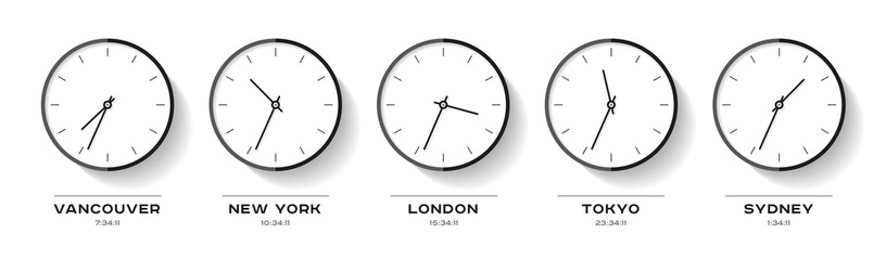 World time. Simple Clock icons in flat style. Vancouver, New York, London, Tokyo, Sydney. Black Watch on white background. Business illustration for you presentation. Vector design objects.