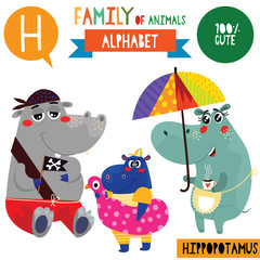 Letter H-Mega big set.Cute vector alphabet with family of animals in cartoon style.