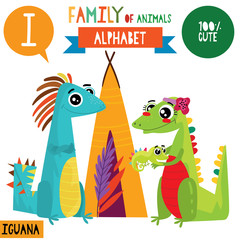 Letter I-Mega big set.Cute vector alphabet with family of animals in cartoon style.