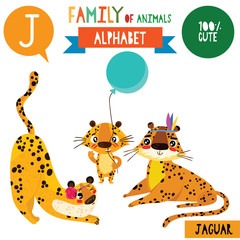 Letter J-Mega big set.Cute vector alphabet with family of animals in cartoon style.