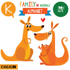 Letter K-Mega big set.Cute vector alphabet with family of animals in cartoon style.