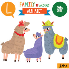 Letter L-Mega big set.Cute vector alphabet with family of animals in cartoon style.