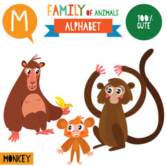 Letter M-Mega big set.Cute vector alphabet with family of animals in cartoon style.