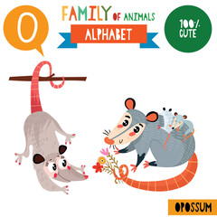 Letter O-Mega big set.Cute vector alphabet with family of animals in cartoon style.