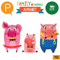 Letter P-Mega big set.Cute vector alphabet with family of animals in cartoon style.