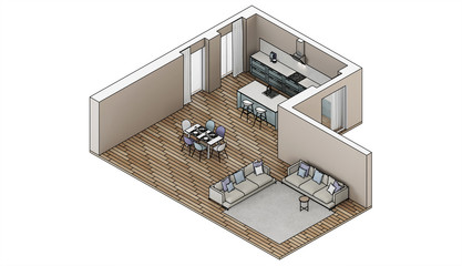 Modern house interior. Design project. Sketch. Orthogonal projection. 3D rendering.