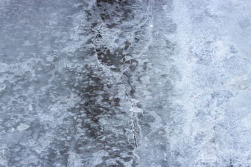 texture of ice on the river