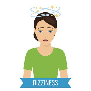 Common symptom of panic disorder - dizziness. Vector