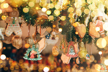 Beautiful Christmas decorations with ginger cookies and other festive toys. Christmas background.