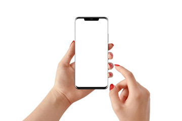 Female hand holding modern black phone in vertical position with empty screen on white background. Mockup