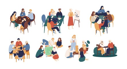 Wall Mural - Collection of funny smiling people sitting at table and playing board or tabletop games. Home leisure activity for friends or family members. Colorful vector illustration in flat cartoon style.