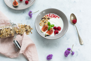 Bowl of natural yoghurt with fruit muesli, raspberries, figs and pomegranate seeds