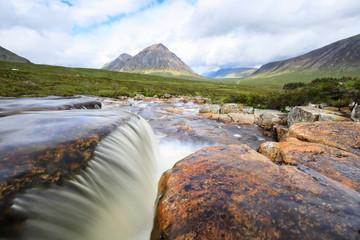 Great Britain, Scotland, Scottish Highlands, Rannoch Moor, Glencoe, Cauldon Waterfall, Buachaille Etive Mor and Mountain Stob Dearg