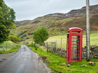 UK, Scotland, Highland, telephone booth at North Coast 500