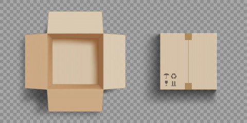 Empty open and closed cardboard box. Isolated on a transparent background