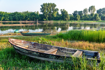 The abandoned boat on the Danube coast