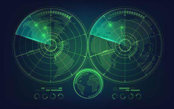 radar screen and world map in futuristic style