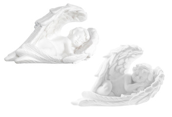 two sleeping angels on white background
