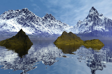 Reflection on water, a natural landscape, two small islands in the sea, snow on the mountain peaks,  and a blue sky.