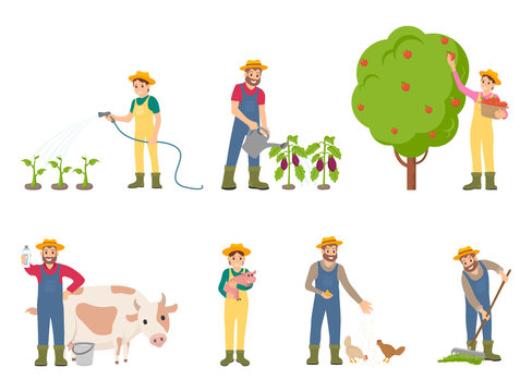 Farmer People with Pig and Cow Vector Illustration